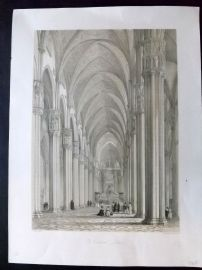 George Moore 1843 Folio Architectural Print. The Cathedral - Milan. Italy